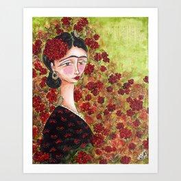 Frida Among Flowers Art Print