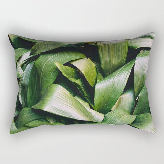 Green Leaves Closeup Pattern Rectangular Pillow