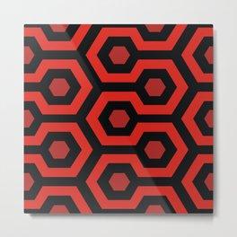 Red Hexagons Metal Print