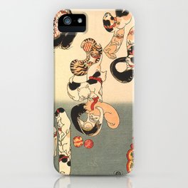 Cats forming the Characters for Catfish by Utagawa Kuniyoshi iPhone Case