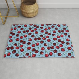 Cherry Cherries with Polka Dots in Blue Rug