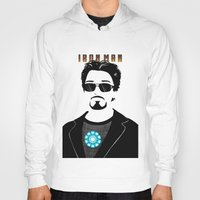tony stark Hoodies featuring Tony Stark is IRON MAN by Elisehill3