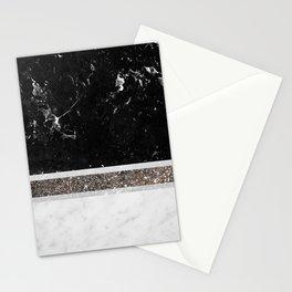 Black and White Marble Silver Glitter Stripe Glam #1 #minimal #decor #art #society6 Stationery Cards