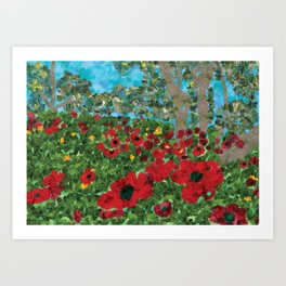 Field with poppies Art Print