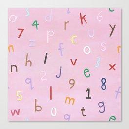 Synaesthesia Alphabet Pink Canvas Print