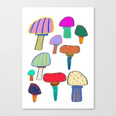 Mushrooms, mushroom print, mushroom art, illustration, design, pattern, Canvas Print