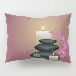 Pebbles with orchid Pillow Sham