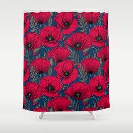 Night poppy garden  Shower Curtain