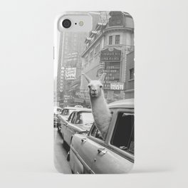 Llama Riding in Taxi, Black and White Vintage Print iPhone Case