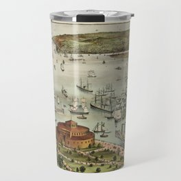 Vintage Pictorial Map of The Port of New York Travel Mug