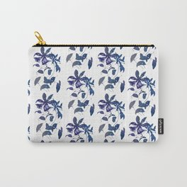 Watercolor Indigo Clematis Vine Carry-All Pouch
