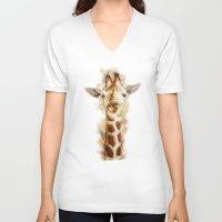 giraffe V-neck T-shirts featuring giraffe by beart24