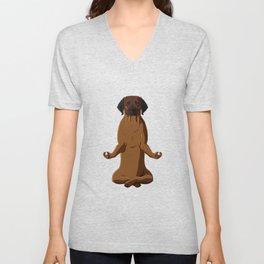 Meditating Hanoverian Hound Dog Unisex V-Neck