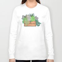 succulents Long Sleeve T-shirts featuring Succulents by Little Lost Garden
