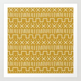 Mustard Mud Cloth Art Print
