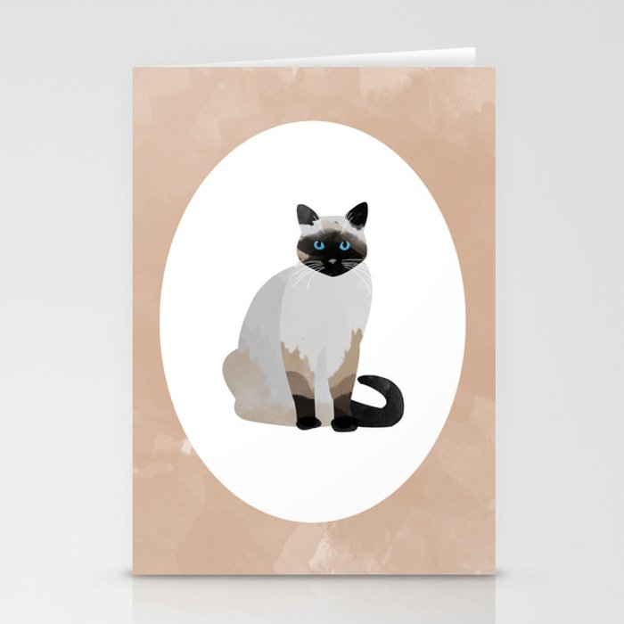 Siamese Cat Digital Watercolor Stationery Cards