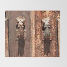Antique wooden door with hand knockers Throw Blanket