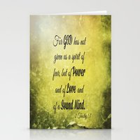 scripture Stationery Cards featuring Scripture 2 Timothy 1:7 by bjcarrigan
