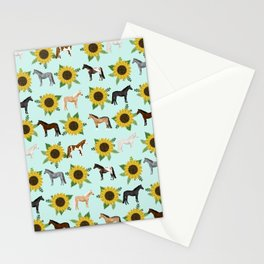 Horse, sunflowers, sunflowers, flowers, flower, mint, horses, cowgirl, texas Stationery Cards