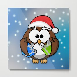 Christmasowl Metal Print