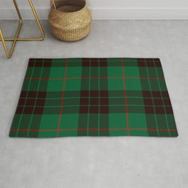 Dark Green Tartan with Black and Red Stripes Rug