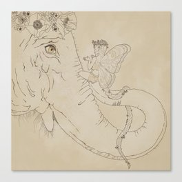 Talks with the Elephant Canvas Print
