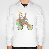 birthday Hoodies featuring birthday sloth by Laura Graves