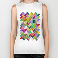 monogram Biker Tanks featuring D Monogram by mailboxdisco