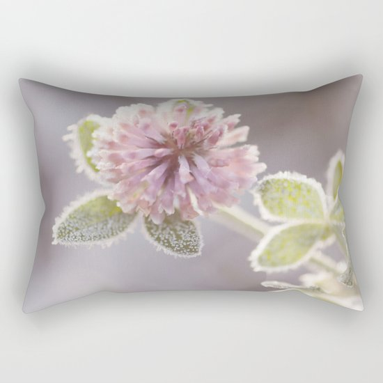 Blooming clover covered with first hoarfrost Rectangular Pillow