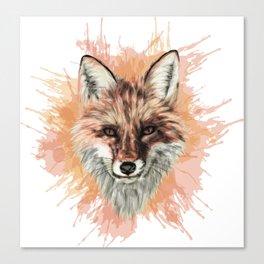 Red Fox Stylized Digital Portrait Canvas Print
