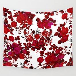 Botanical romantic red black elegant roses floral Wall Tapestry