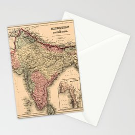 Map Of India 1857 Stationery Cards