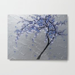 Blue and purple tree with textured silver base Metal Print