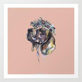Beagle with a flower wreath - by Fanitsa Petrou Art Print