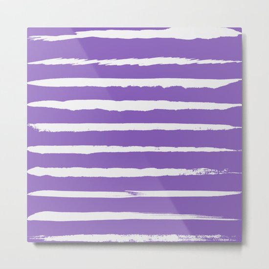 Irregular Hand Painted Stripes Purple Metal Print