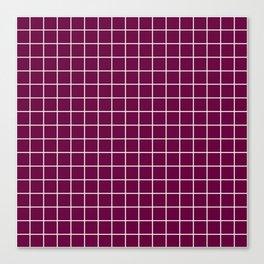 Tyrian purple - purple color - White Lines Grid Pattern Canvas Print