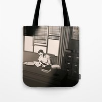 the office Tote Bags featuring Quill's Office by Andrew Formosa