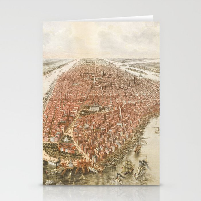 Old Map Of New York.New York City Old Map Stationery Cards By Reshataliyev