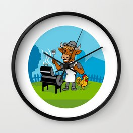 Clergy Cow Minister Barbecue Chef Rooster Caricature Wall Clock