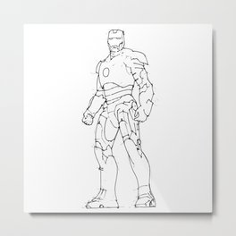 Iron man white background handmade drawing Metal Print