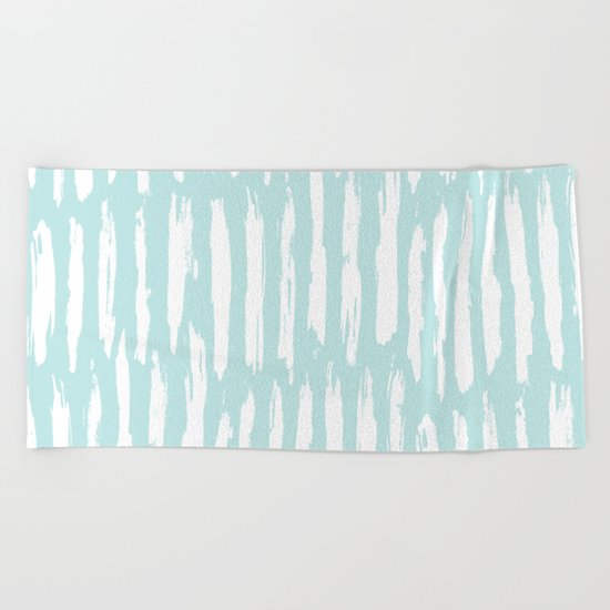 Vertical Dash Stripes White on Succulent Blue Beach Towel