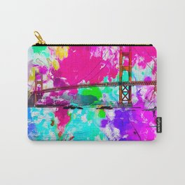 Golden Gate bridge, San Francisco, USA with pink blue green purple painting abstract background Carry-All Pouch