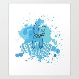 Accordion Cat Melodeon Piano Accordion Kitten Gift Art Print