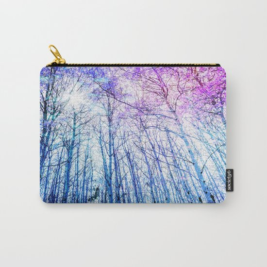 Blue Forest Purple Leaves Carry-All Pouch