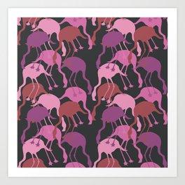 Pink Flamingo Camouflage Pattern Art Print