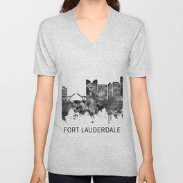 Fort Lauderdale Florida Skyline BW Unisex V-Neck