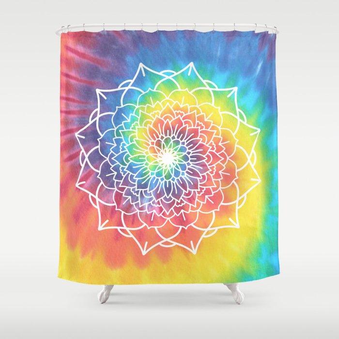 RAINBOW TIE DYE MANDALA Shower Curtain By Sianbrierley