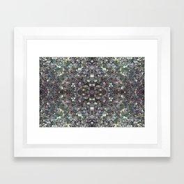 Sparkly colourful silver mosaic mandala Framed Art Print