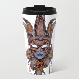 Male Venetian Jester Mask | Watercolor and Colored Pencil  Metal Travel Mug