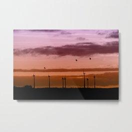 Wind power plant at dawn Metal Print